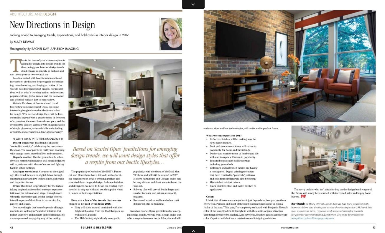 builder developer magazine article - Interior Design Magazine Article
